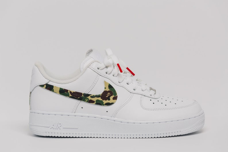 e4adf856e84f Nike Air Force 1 Bape camo Swooshes Custom Premium Designer