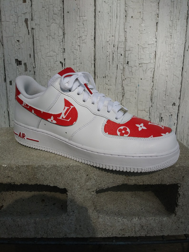 8d862be004acee Nike Air Force 1 LV Red Custom Designed Premium Designer Edition Avail. in all  sizes
