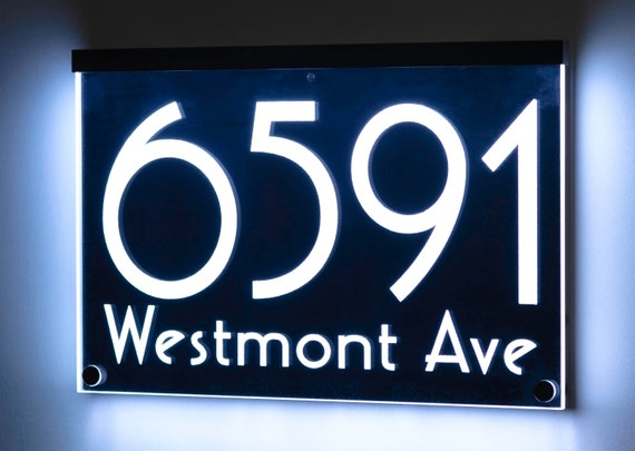12V DC Illuminated Address Sign Plaque House Numbers LED Lighted Auto On//Off