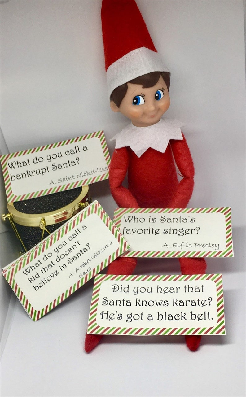 photograph about Elf on the Shelf Printable Props known as Elf upon the shelf Santa Joke Playing cards printable electronic report humorous playing cards for xmas traditions lunch box xmas support out elf props