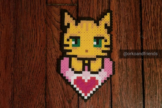 Customizable Kitty With Heart Pixel Art Magnet Cat Pixel Art Magnet Kitten Pixel Art Magnet Kwhpm