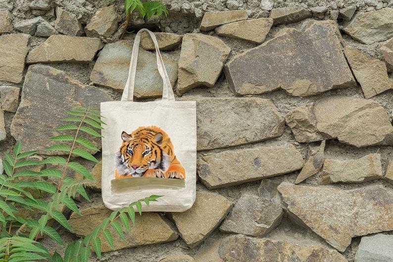 Sleepy Tiger ART Illustrated Shopping Bag Bag for Life Tote Eco Reusable Cotton Bag