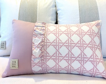 Pink Color Block Pillow Cover 12x20 Lumbar Pillow~Girly Ruffles Pink Cushion Cover 30.5x50.8cm~Geometric Throw Pillow Cover~Unique Pillow