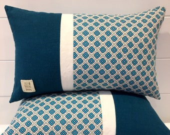 Linen Cushion Cover Teal 12x20 (30.5x50.8cm)~Cream and Turquoise Color Block Pillow Cover~Blue Quatrefoil Throw Pillow Cover~Unique Pillow