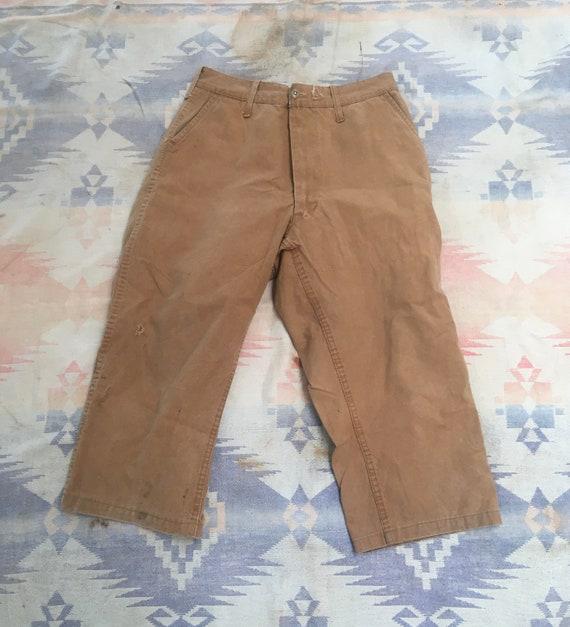 1970s Khaki Canvas Hunting Pants W30