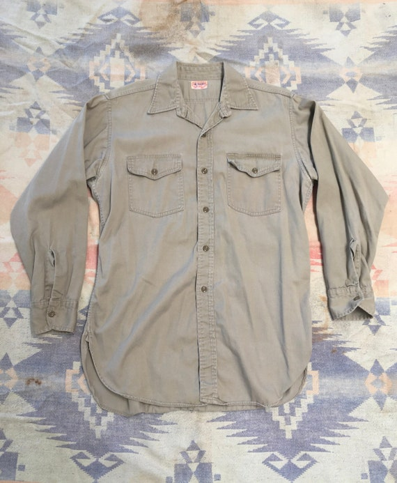 1940s Khaki Headlight Work Shirt