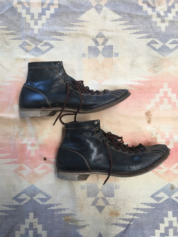 1920s/30s Black Leather Athletic Sneakers