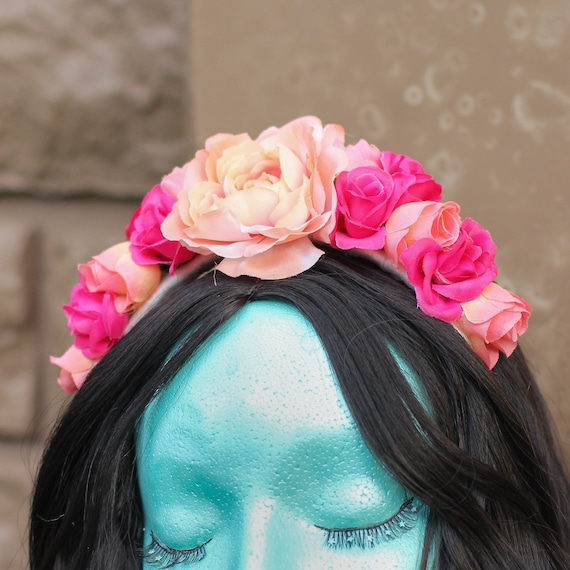 Pink And Peach Colored Flower Crown Etsy