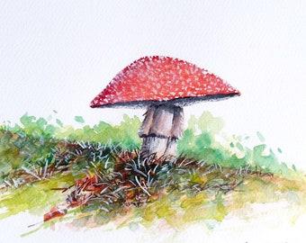 White-spotted Red Mushroom, Mushroom painting, Fungi painting, Original watercolor painting
