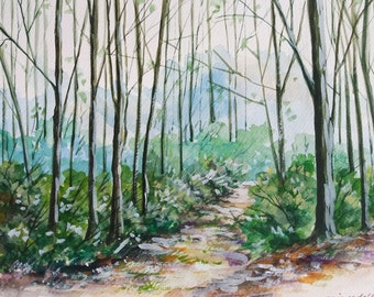Bare Forest, Bare Trees, Original watercolor painting, Wall Decor, Wall Art, Home Decor