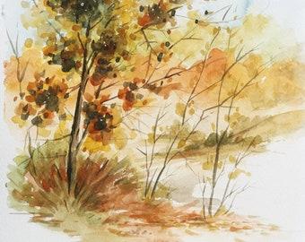 Autumn Tree, Landscape, Original Watercolor Painting