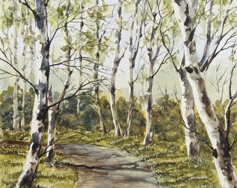 BIRCH TREES SERIES - Birch Trees along the Road, Watercolor Landscape, Original Watercolor Painting