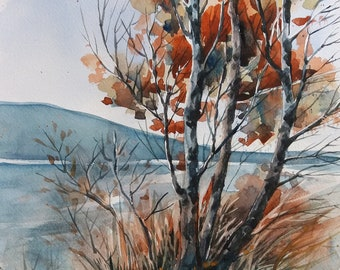 BIRCH TREES SERIES - Autumn Birch Trees, Abstract Birch Trees, By the Lake, Watercolor Landscape, Original Watercolor Painting