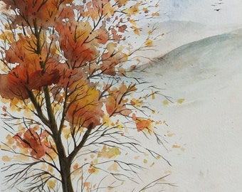 Autumn Tree, Abstract Landscape, Original Watercolor Painting
