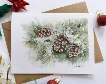 Christmas Card - Hand painted Pine Cones, Botanical Card, Watercolor Card, Mini Art Painting