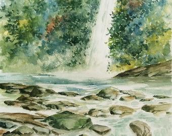 Falls, Waterfalls, Cascade, Rocky Stream, Landscape, Vertical Format, Original Watercolor Painting