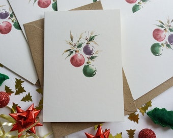"""Christmas Cards - Set of 6 """"Christmas Baubles"""" Cards, Minimalist Cards, Originally Hand painted Cards, Holiday Greeting Cards"""