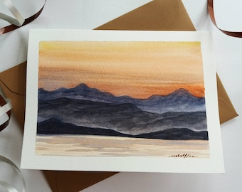 Original Hand painted  Card - Sunset Mountains, Landscape, Watercolor Card, Mini Art Painting