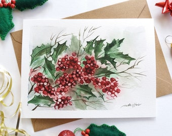 Christmas Card - Hand painted Holly Berries, Holly Leaves, Botanical Card, Watercolor Card, Mini Art Painting