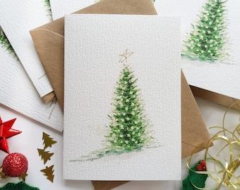 "Christmas Cards - Set of 6 ""Evergreen Christmas Tree"" Cards, Christmas Lights, Originally Hand painted, Minimalist, Holiday Greeting Cards"