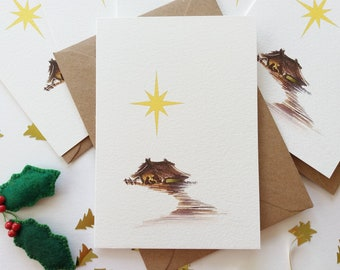 """Christmas Cards - Set of 6 """"Barn in Bethlehem"""" Cards, Nativity, Religious Cards, Originally Hand painted, Minimalist, Holiday Greeting Cards"""