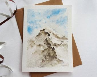 Original Hand painted  Card - Snow Mountain Landscape, Watercolor Card, Mini Art Painting