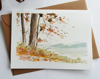 Original Hand painted  Card - Falling Leaves, Autumn Landscape, Watercolor Card, Mini Art Painting
