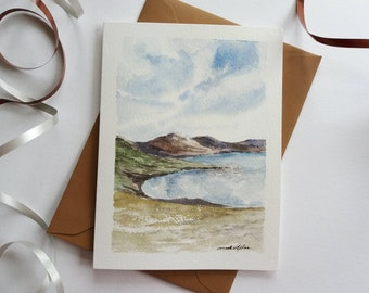 Original Hand painted  Card - Lake Landscape, Watercolor Card, Mini Art Painting