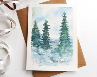Original Hand painted  Card - Winter Evergreen, Pine Trees, Winter Landscape, Watercolor Card, Mini Art Painting