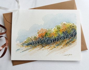 Original Hand painted  Card - Colorful Trees, Landscape, Watercolor Card, Mini Art Painting