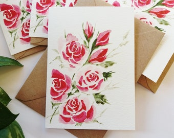 Greeting Cards, Pink Roses Card Set - Simple, Elegant, Originally Hand painted, Card Print, Handmade Greeting Card, Mother's Day Card