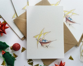 """Christmas Cards - Set of 6 """"Jesus in a Manger"""" Cards, Abstract, Minimalist, Originally Hand painted, Holiday Greeting Cards"""