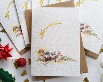 """Christmas Cards - Set of 6 """"Jesus in a Manger"""" Cards, Religious Christmas Cards, Originally Hand painted, Minimalist, Holiday Greeting Cards"""