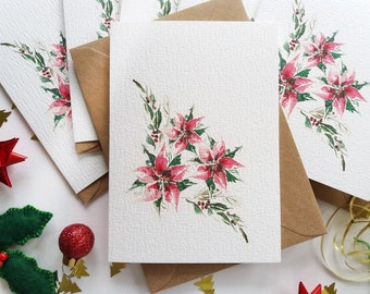 """Christmas Cards - Set of 6 """"Poinsettias"""" Cards, Christmas Flowers Cards, Originally Hand painted, Minimalist, Holiday Greeting Cards"""