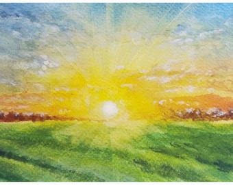 Sunrise, Sunrise on the Field, Gicleé Print, Watercolor Painting