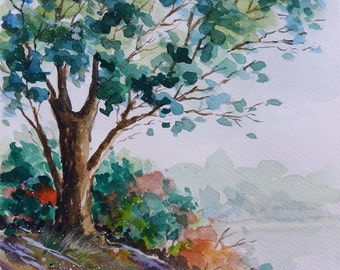 Tree on a hill, Tree painting, Wall Decor, Wall Art, Original watercolor painting