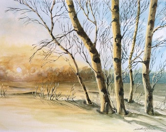 BIRCH TREES SERIES - Birch Trees in Winter, Sunrise, Sunset, Watercolor Winter Landscape, Original Watercolor Painting