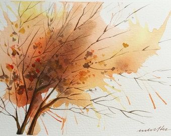 Autumn Atmosphere, Abstract Fall Tree, Original watercolor painting, Small Landscape Painting, Nature Painting, Wall Art, Large Note Card