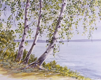 BIRCH TREES SERIES - Birch Trees by the Lake, #2, Watercolor Landscape, Original Watercolor Painting