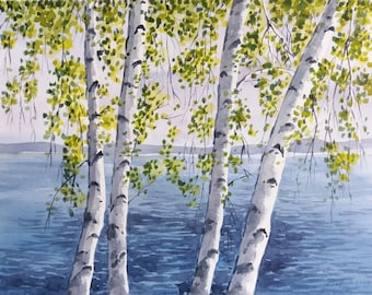 BIRCH TREES SERIES - Birch Trees Lake View, Watercolor Landscape, Original Watercolor Painting