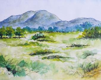 Field, Barren Field, Original watercolor painting
