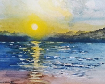 Sunrise, Sunrise by the Beach, Gicleé Print, Watercolor Painting