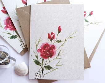 Greeting Cards, Set of 6, Red Roses - Simple, Dainty, Minimalist, Note Cards, Handmade Greeting Cards, Holiday Greeting Cards