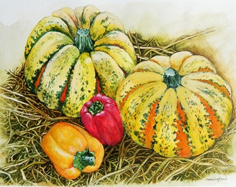 Pumpkins, Winter Squash, Bell Pepper, Thanksgiving Day Art, Original Watercolor Painting, Nature Wall Art