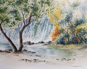 Waterfall behind Tree, Cascade, Forest, Original watercolor painting, Landscape, Nature Painting, Wall Art