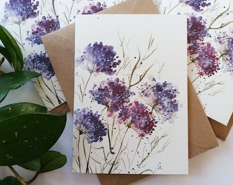 Greeting Cards, Wild Purple Blossoms Card Set - Simple, Abstract, Dainty, Originally Hand painted, Handmade Greeting Card