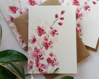 Greeting Cards, Pink Orchids Card Set - Simple, Elegant, Originally Hand painted, Handmade Greeting Card, Blank Folded Note Cards