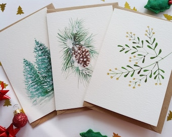 Christmas Cards - Set of 3 Assorted Cards, Evergreen Trees, Snowy Pine Cone, Mistletoe, Originally Hand painted, Holiday Greeting Cards