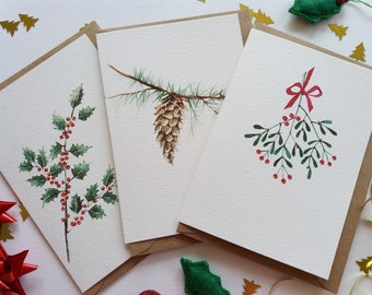 Christmas Cards - Set of 3 Assorted Cards, Holly Leaves, Pine Cone, Red Ribbon Mistletoe, Originally Hand painted, Holiday Greeting Cards