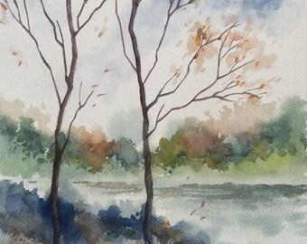 Lake Landscape, Gloomy Landscape, Original watercolor painting, Landscape, Nature Painting, Wall Art